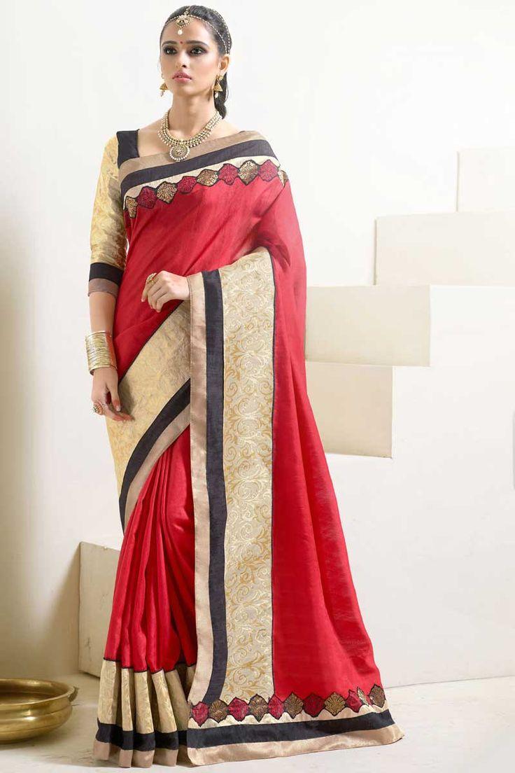 #AndaazFashion Présente sari rouge Art Soie avec chemisier  http://www.andaazfashion.fr/womens/sarees/red-art-silk-saree-with-blouse-dmv8545.html