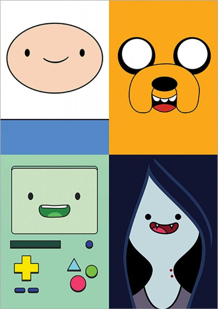 Finn, Jake, Beemo & Marceline - Adventure Time - Desenhos | Posters Minimalistas