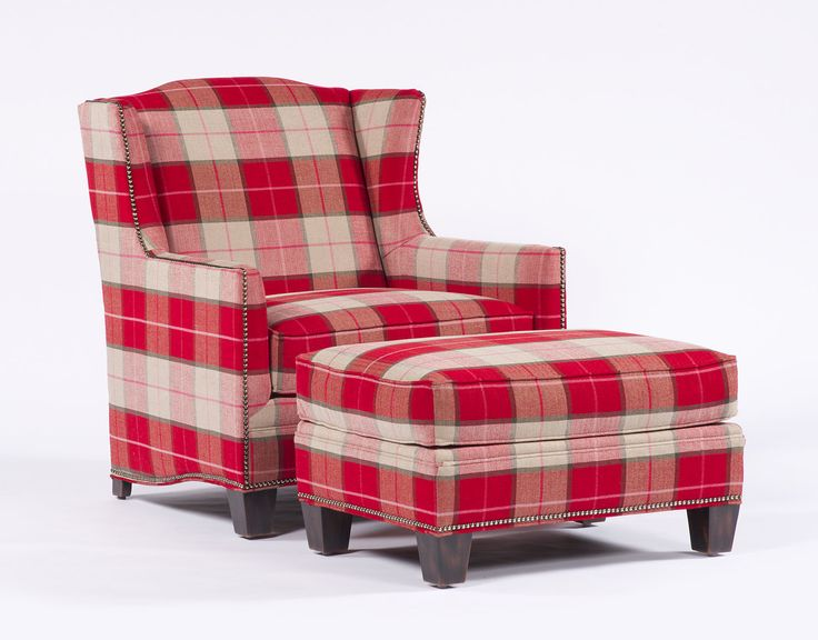 Plaid Armchair And Ottoman In 2019 Farmhouse Living Room