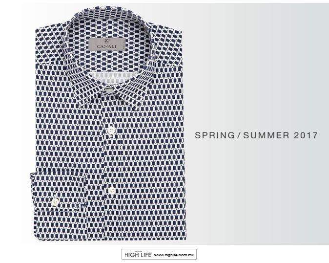 Esta camisa de algodón cuenta con un estampado geométrico blanco que crea una estética dinámica y refinada, perfecta para atuendos de primavera y verano. #Canali