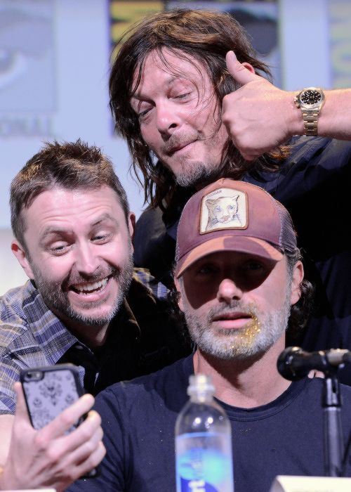 Chris Hardwick, Norman Reedus and Andrew Lincoln at AMC's 'The Walking Dead' panel during Comic-Con International 2016 at on July 22, 2016 in San Diego, California