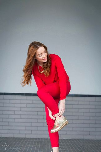 Women's Red Long Sleeve Blouse, Red Skinny Pants, Gold Leather Oxford Shoes, Gold Necklace