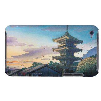 Kyoraku attractions Nomura Yasaka pagoda sunshine iPod Touch Cover #Kyoraku #Yasaka #pagoda #shrine #sunshine #kyoto #scenery #hanga #gift #accessory #customizable #Japan #japanese #oriental #village