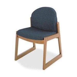 Safco 7930BL1 Chair, Armless Guest, 2-3/4 in.x23 in.x31-1/4 in., Medium Oak/BK