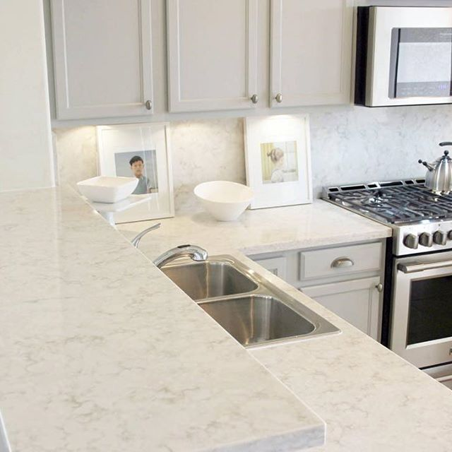 #Viatera Quartz Countertops AND Backsplash? We Love How @hellolovelystudio  Doubled Up On #