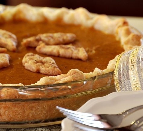 Homemade Fresh Pumpkin Pie- made with fresh pumpkin, not canned. No out-of-the-ordinary ingredients. Eggs, milk, pumpkin, butter, sugar, molasses, cinnamon, ginger, cloves and salt.