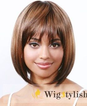 Cheap Wigs For Sale Short Straight Blonde Full Bang African American Wigs for Women 10 Inch Under Price $60 At WigStylish.com.