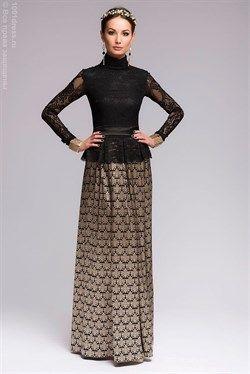 Платье черное длины макси с золотым орнаментом и черным кружевным верхом