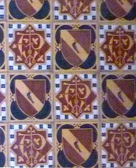 Minton encaustic floor tiles, emblazoned with Pugin's arms and monogram  http://www.victorianweb.org/victorian/art/architecture/pugin/31s.jpg