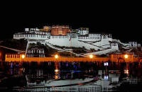The Beautiful Potala Palace at night. Our Tibet tours make a stop here!