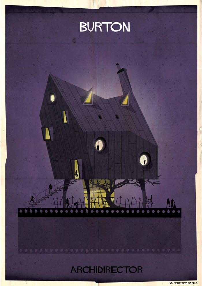 Famous directrors, as buildings. By Federico Babina.