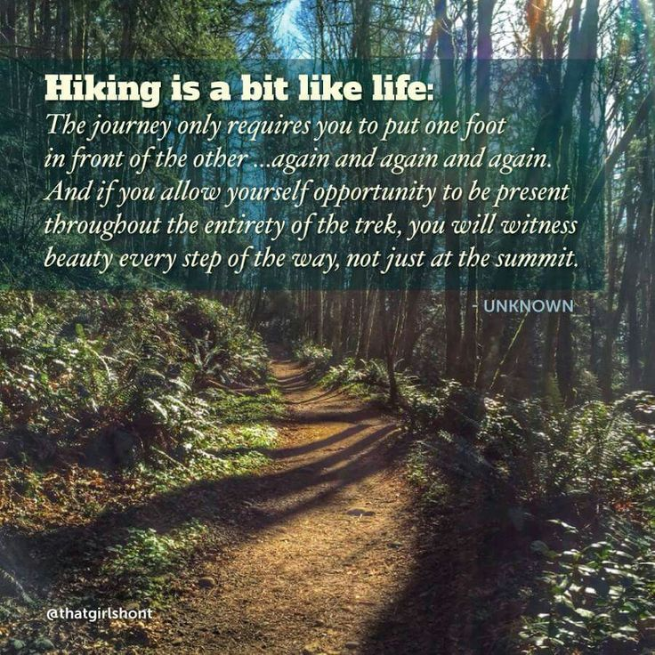 Hiking is a bit like life, enjoy the beauty along the way.