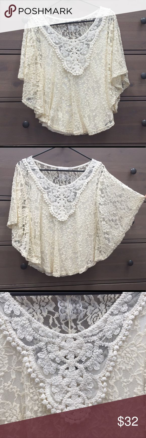 """Lace & Crochet Dolman Batwing Sleeve Top Vintage feel. The lace coloring is more bone and the crochet is a little lighter cream. The tag has been removed but I'm almost 100% sure I bought this a while back at Free People. From shoulder to waist is about 23"""" so it's a small. Free People Tops Tunics"""