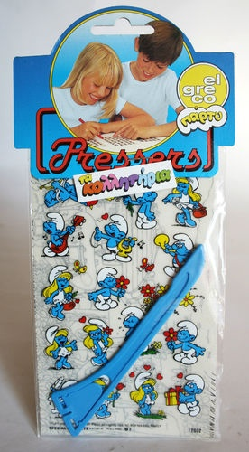 1985 VINTAGE EL GRECO SMURFS PRESSERS PEYO VERY RARE NEW SEALED !