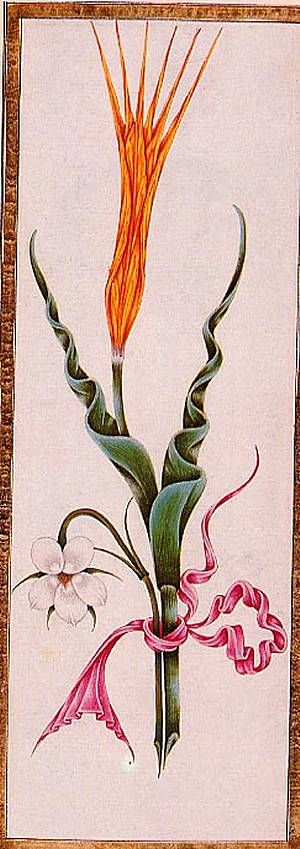 Ali Uskudari was an eminent artist during the reign of Ahmed III. He was know for his lacquered bindings and particularly for his graceful illustrations of flowers, notably the 30 paintings of flowers which illustrate a poetry book. This example shows a yellow tulip and a white pansy. Poetry manuscript.