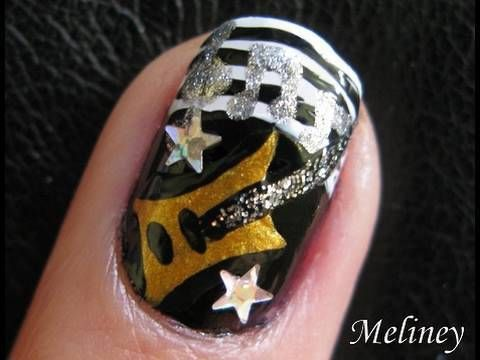 Nail Art Tutorial Guitar Hero Rock Star Music Band Design for Short Nails Do Your Own Nails At Home