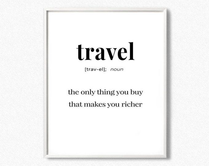 8579a8b0e5fb6 Travel Definition, Definition Print, Travel Print, Word Poster ...