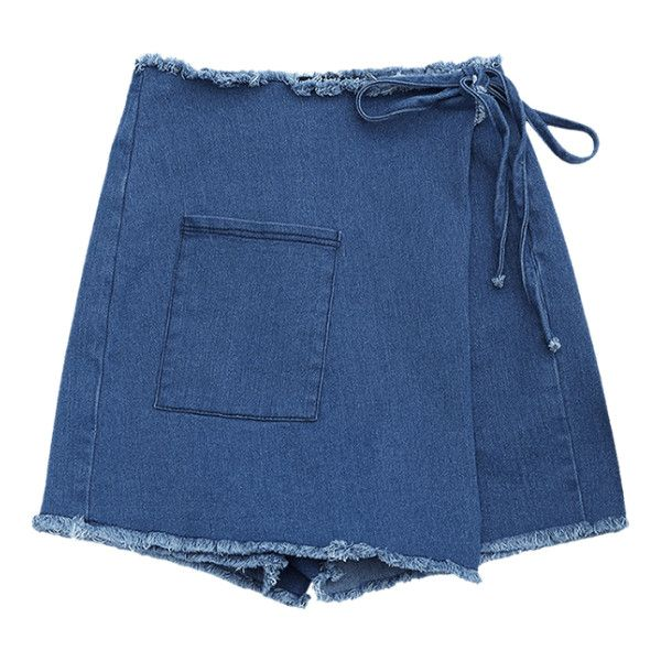 Asymmetrical Cutoffs Denim Wrap Shorts (110 HRK) ❤ liked on Polyvore featuring shorts, zaful, skirts, bottoms, denim cut offs, wrap shorts, blue shorts, asymmetrical shorts and denim cut-off shorts