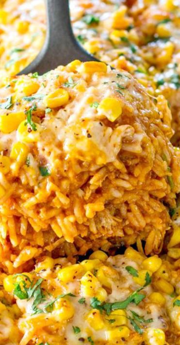 Chicken Enchilada Rice Casserole Recipe ~ all the makings of a chicken…