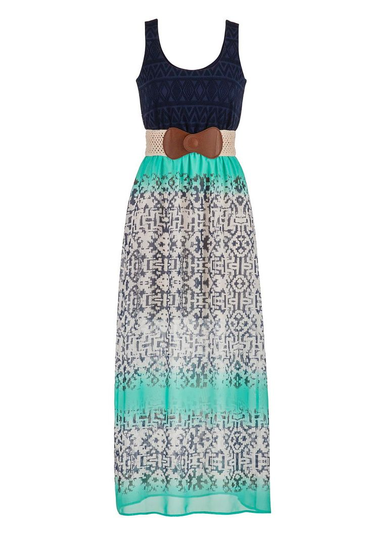 crochet top patterned chiffon maxi dress - maurices.com