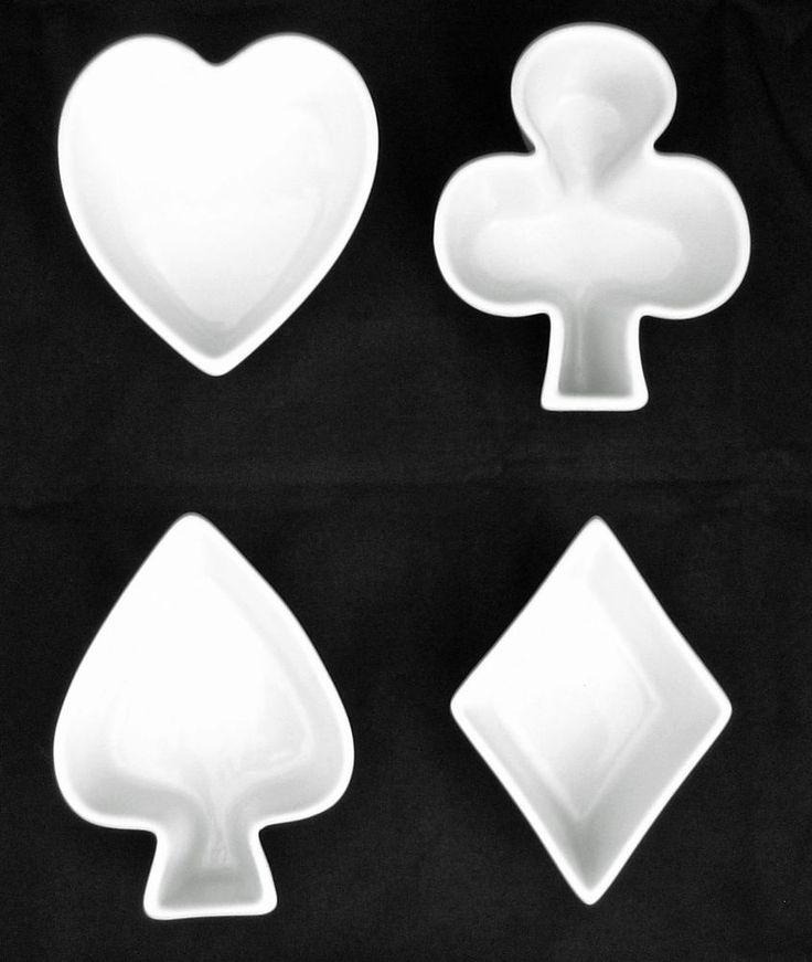 BIA 4er Set weiß Steingut Karte-anzug Snack Geschirr Herz Spaten Club Diamond