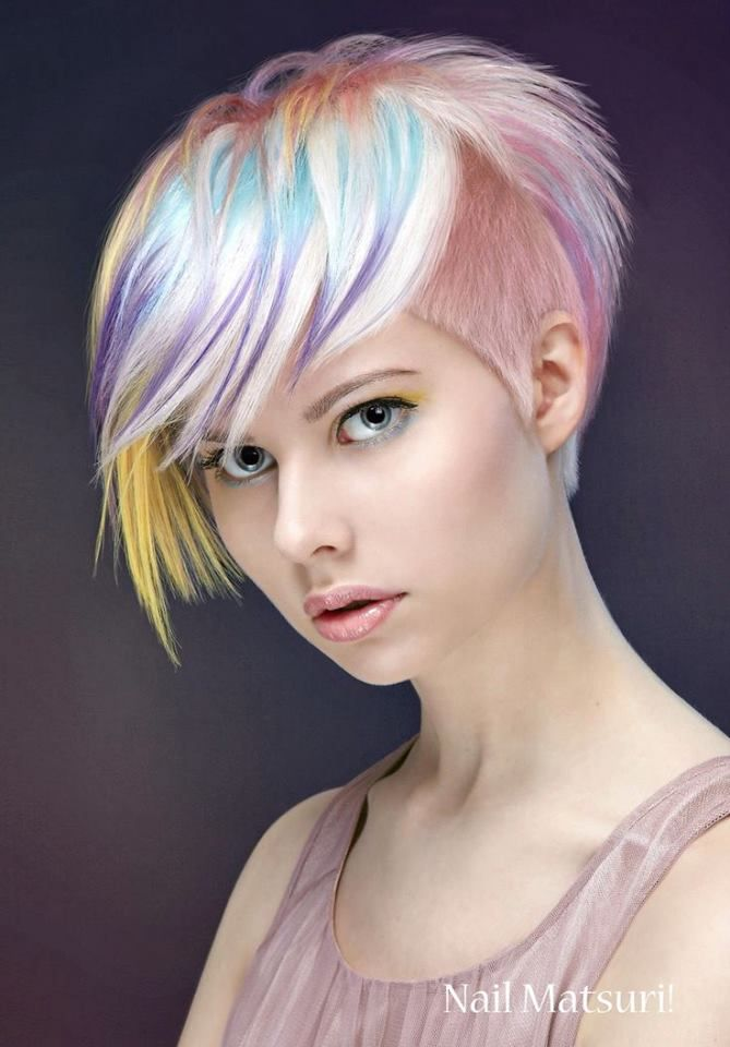 rainbow <3  Beauty: Fantasy Unicorn Purple Violet Red Cherry Pink yellow Bright Hair Colour Color Coloured Colored Fire Style curls haircut lilac lavender short long mermaid blue green teal orange hippy boho ombré woman lady pretty selfie style fade makeup grey white silver trend trending  Pulp Riot