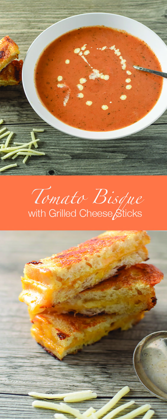 These toasty sourdough grilled cheese sticks are perfect for dipping in this easy, creamy tomato bisque!