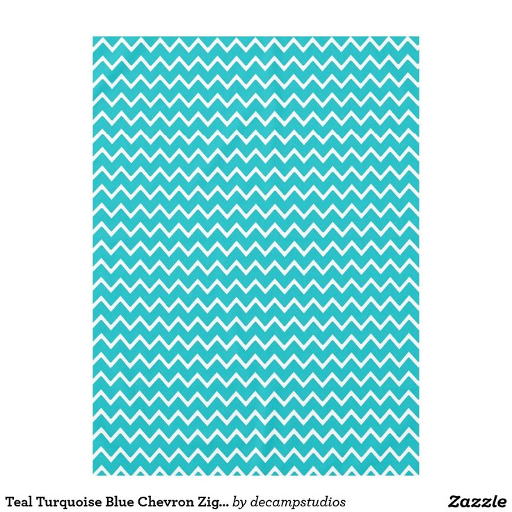 Teal Turquoise Blue Chevron Zigzag Pattern Tablecloth