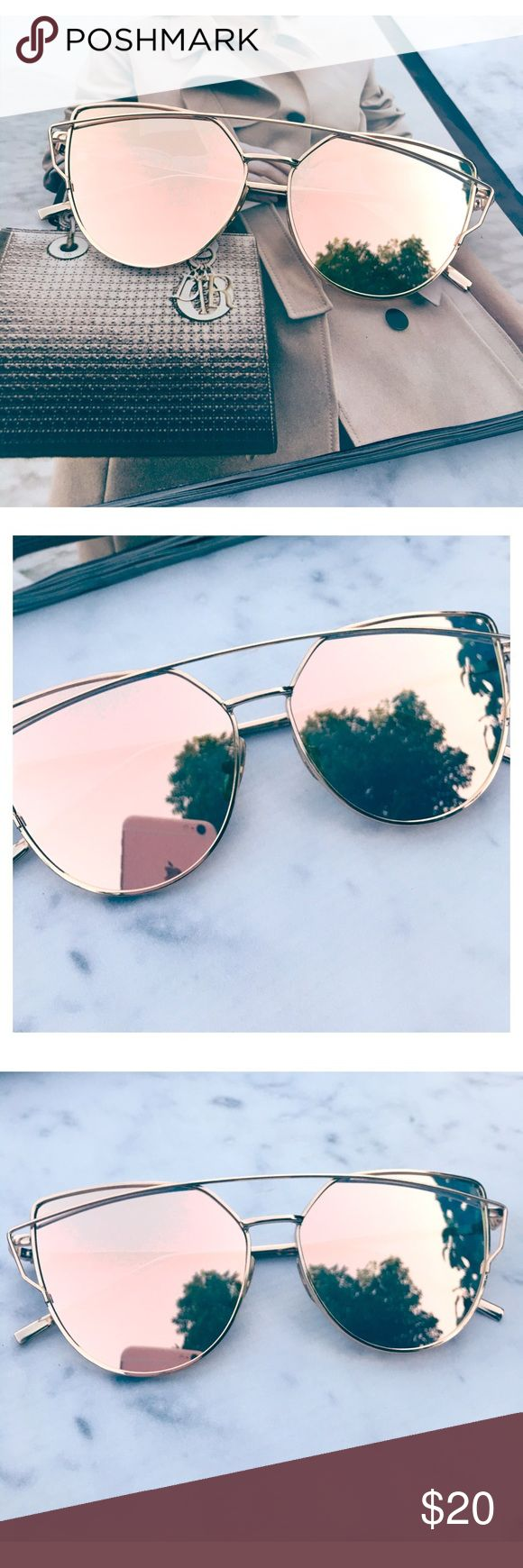 Rose Gold Mirrored Sunglasses Restocked! Cat Eye Aviator Sunglasses. This listing is for a pair of Cat Eye aviator sunshades. Rose Gold Mirrored Sunglasses. Retro. Sunglasses. Wire sunglasses. Trending sunglasses. UV protection. Top quality! Brand new! Bundle and save! ✨1 for $20, 2 for $30, 3 for $40✨ Accessories Glasses