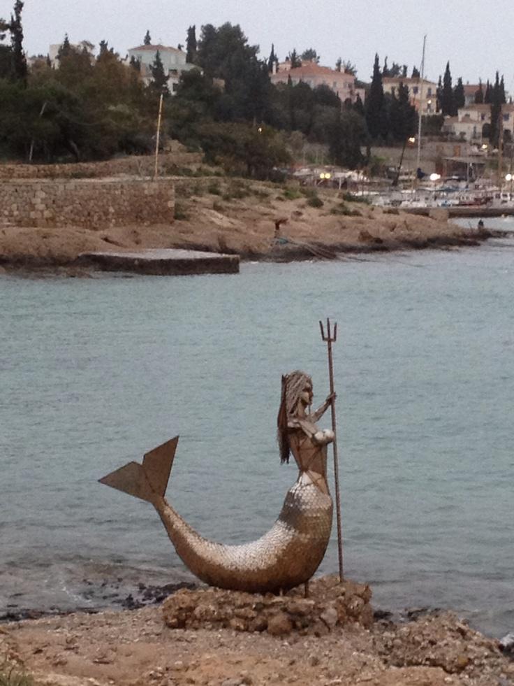 Mermaid statue by Natalia Mela on Spetses Island, Greece