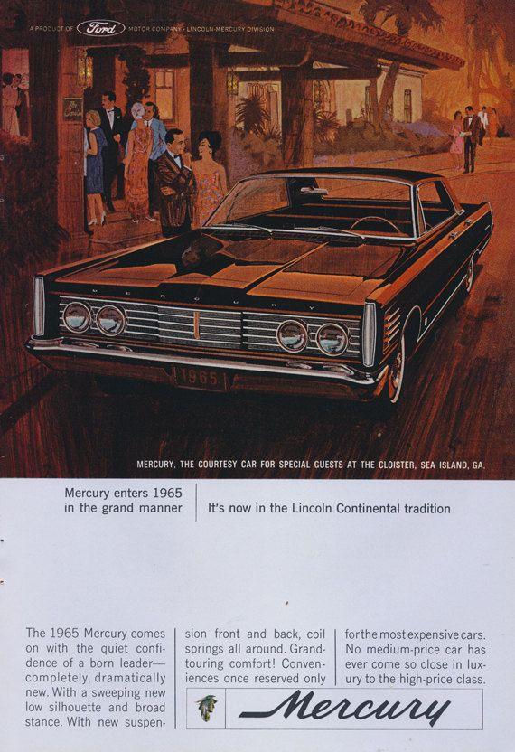 1965 Ford Mercury Classic Car Ad Illustrated by AdVintageCom