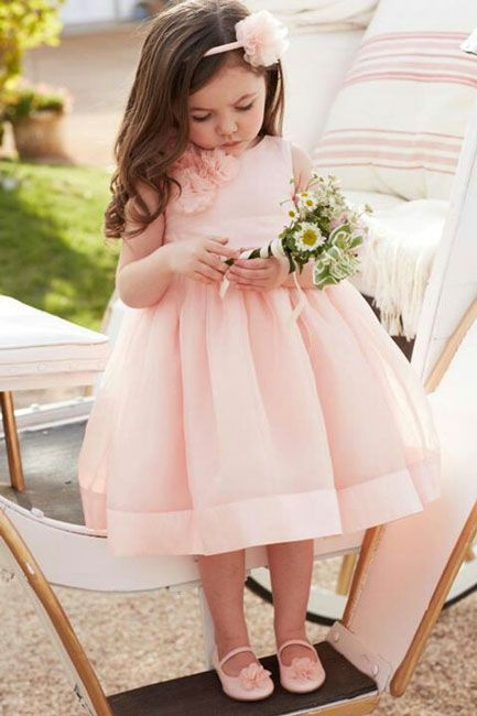 adorable bubble pink ball gown tea length toddler flower girl dress