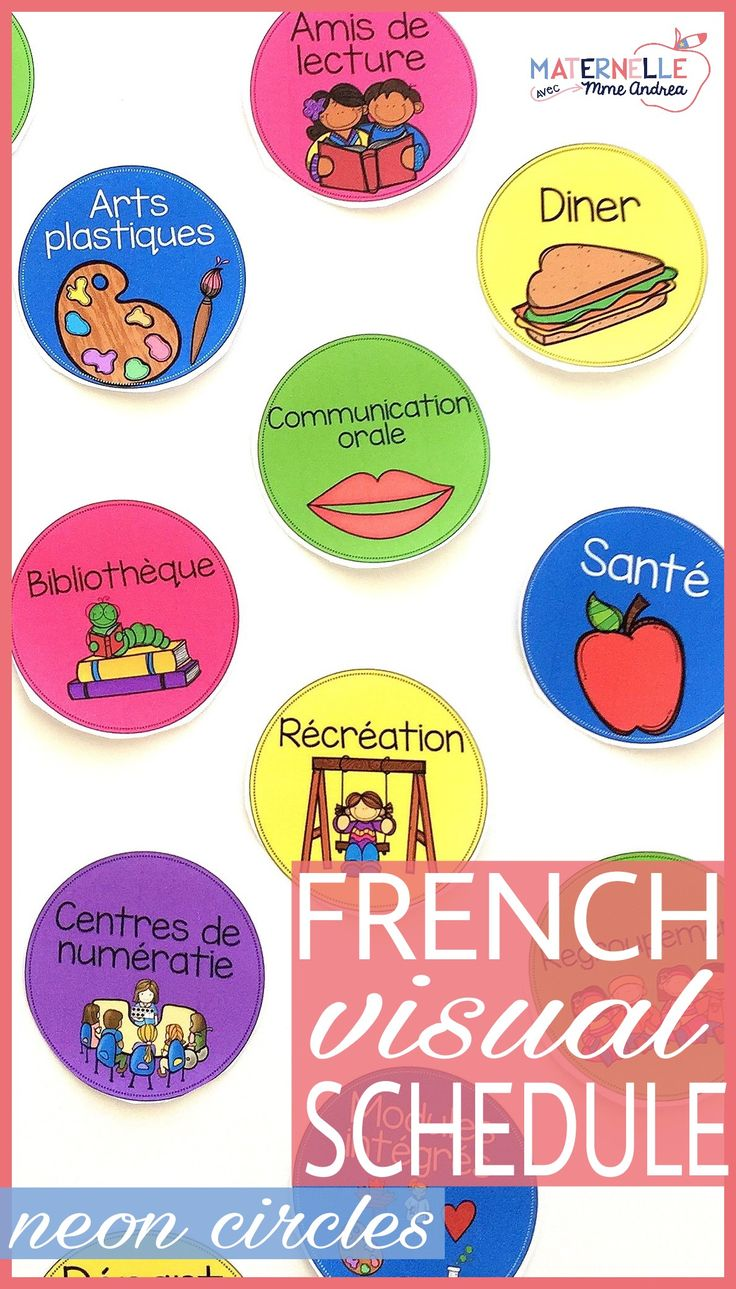 48 Visual schedule cards en français! Perfect to help organize your day in your French classroom, these schedule cards are bright and beautiful with a neon theme that really POPS! Circles instead of rectangles help save space.