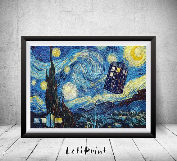 Doctor Who Starry Night Print, Tardis Print, Doctor Who Poster, Doctor Who Art, Doctor Who Wall Art, Vincent van Gogh, Dr Who Illustration by LetiPrint