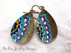 Blues and purples hand painted bronze mandala flower earrings. -  - McKee Jewelry Designs - 1