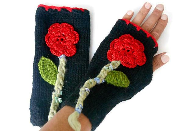 Black knitted Gloves, Women Knitted Gloves, Black Handmade Gloves, Flower Gloves, Winter Gloves, Womens Accessories, Winter Accessories, Fingerless Gloves    Black acrylic gloves.  It was decorated with flowers.  Boho-style gloves.  You can wear these hand warmers in any outfit.  These handheld heaters are soft and comfortable.  Keeps your hands warm.  Maintenance Instruction  Hand wash in warm water, dry.  COLOR: Black  MEASURE: Height 9 /// Width 4   Deliveries will be sent w...