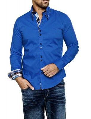 Camisa Carisma detalle cuello doble botón | azul