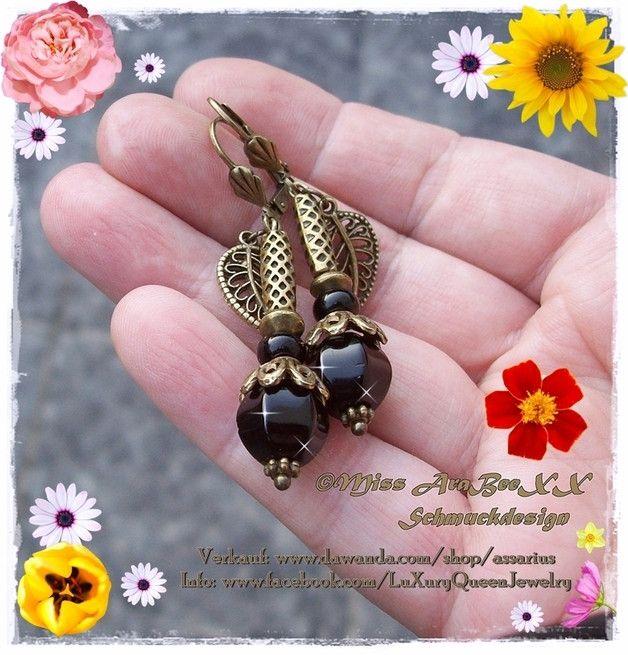Onyx - Onyx Edelstein-Ohrringe Black Pumpkin Antik-Bronze - ein Designerstück von Miss-AraBeeXX bei DaWanda