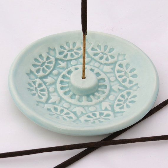 Incense Stick Holder - Incense Burner - Aqua Pastel Ceramic