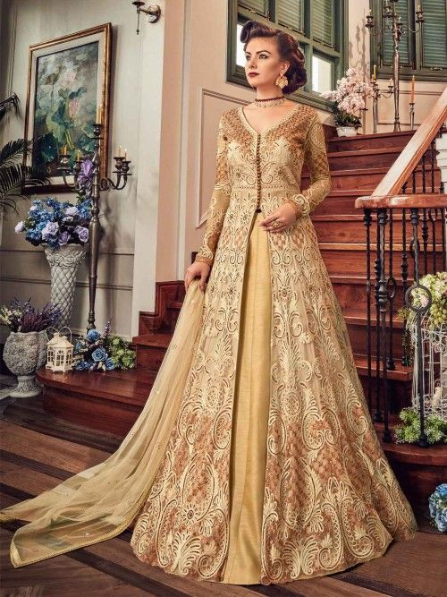86ab05134e Charming beige embroidered lehenga suit online which is crafted from net  fabric with exclusive stone,