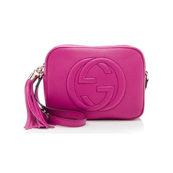 Rental Gucci Soho Leather Disco Bag (755 GTQ) ❤ liked on Polyvore featuring bags, handbags, shoulder bags, pink, genuine leather purse, real leather purses, leather purses, genuine leather shoulder bag and pink shoulder bag