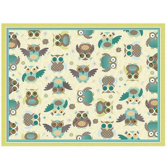 Owl Print Nursery Rug Turquoise ₪266 67 Ils שטיחים