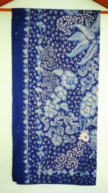 Batik lasem motif bunga, blue