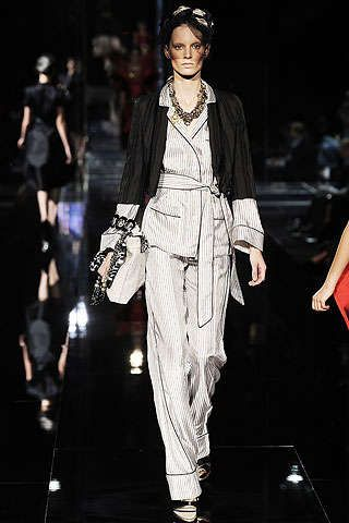 Couture Pajamas in Public: Dolce & Gabbana Women's Pantsuits Inspired by Men's PJs