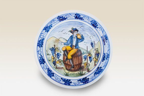 Dinner Plate Ceramic Dinner Plate with blue yellow by HabanCeramic, Ft11500.00