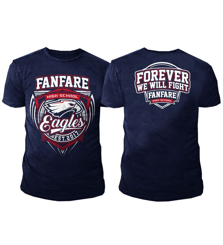 Design by puppen | Athletic T-Shirt Design for Fanfare High School Eagles https://99designs.com/t-shirt-design/contests/athletic-t-shirt-design-fanfare-high-school-eagles-714161/entries/131