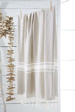 Fouta beige, 100% coton - 100 x 190 cm