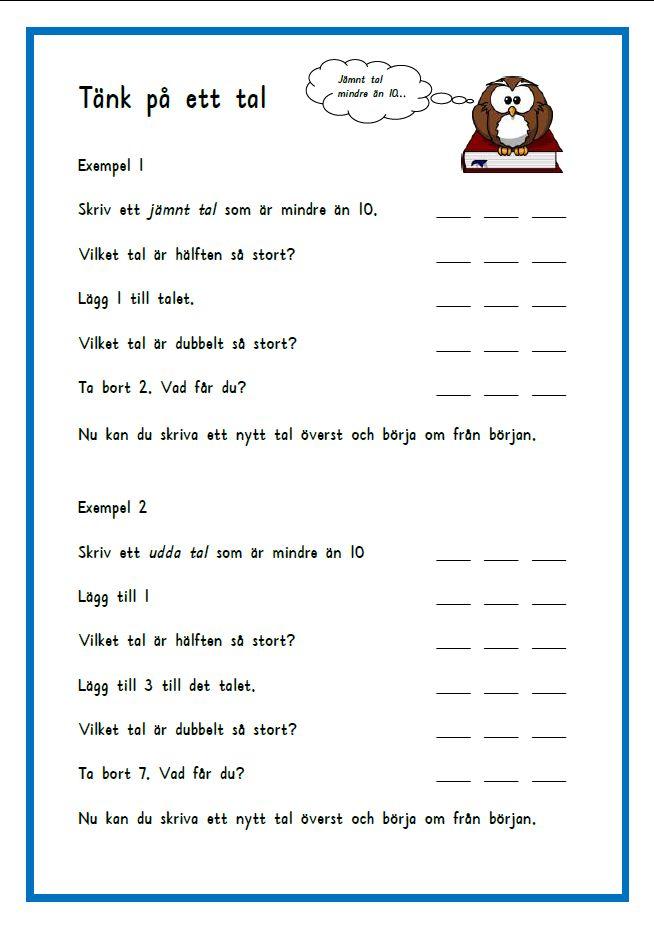 Syftet med den här övningen är att barnet ska träna på att lösa uppgifter med begreppen dubbelt och hälften. Uppgiften kan även användas som en problemlösningsuppgift. Oberoende av vilket tal eleve…