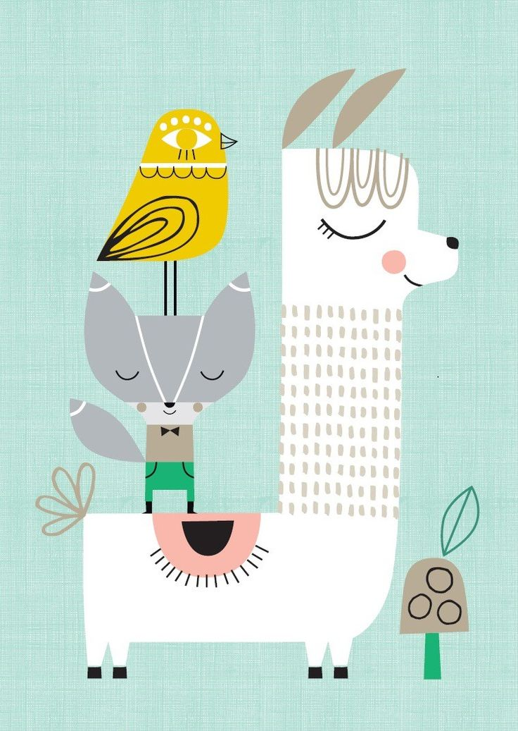 Suzy Ultman poster Lama & Friends 29.7 x 42 cm