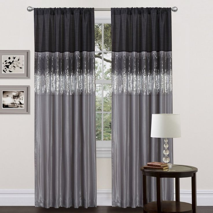 Ciara Sequin Black Gray Faux Silk Lined Panel Curtain